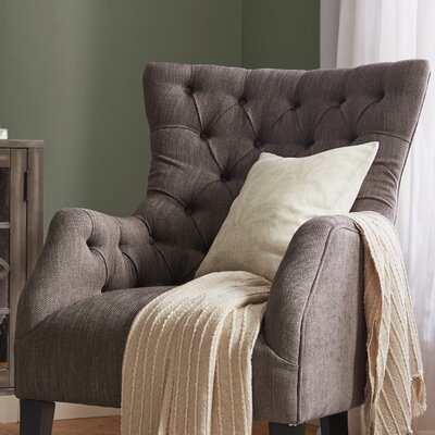 Steelton Button Tufted Wingback Chair Upholstery: Brown