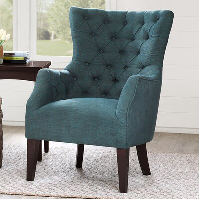 Steelton Button Tufted Wingback Chair Upholstery: Green