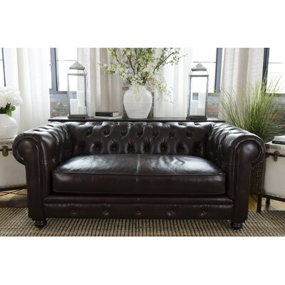 Fiske Leather Chesterfield Sofa