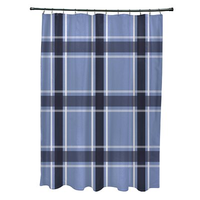 Nicholson Plaid Shower Curtain Color: Light Blue/Navy Blue