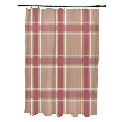 Nicholson Plaid Shower Curtain Color: Taupe/Coral