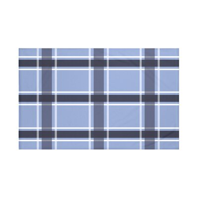 Reuben Plaid Print Throw Blanket Size: 60 L x 50 W, Color: Cornflower (Light Blue/Navy Blue)