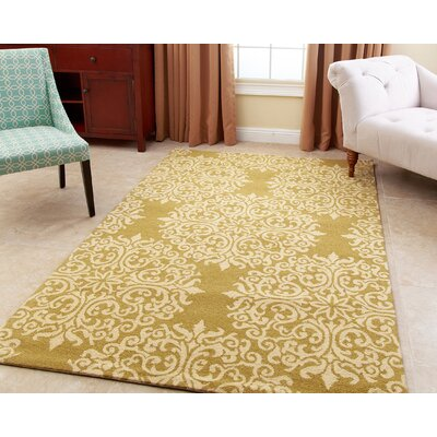 Birdsview Hand-Tufted Wool Moss Area Rug Rug Size: 5 x 8