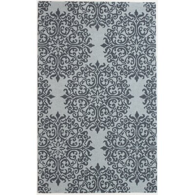 Birdsview Hand-Tufted Wool Teal Area Rug Rug Size: 5 x 8