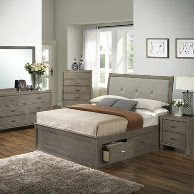 Acres Upholstered Storage Platform Bed Size: Twin, Finish: Gray
