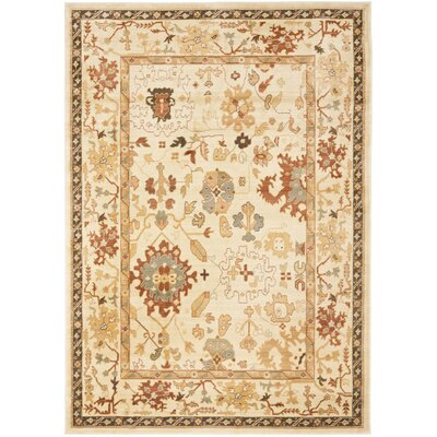 Blue Point Creme Floral Area Rug Rug Size: 6-7 X 9-1