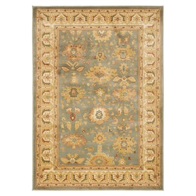 Blue Point Blue/Creme Floral Area Rug Rug Size: 8 x 11