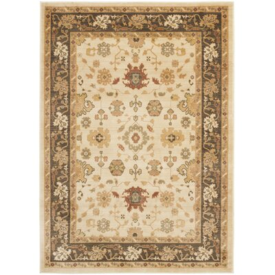 Blue Point Creme/Brown Floral Area Rug Rug Size: 53 x 76