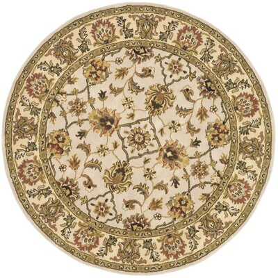Meriden Ivory/Light Gold Area Rug Rug Size: Round 8