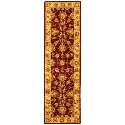 Cranmore Hand-Tufted Wool Red/Gold  Area Rug Rug Size: Runner 23 x 20