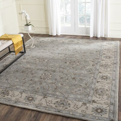 Meriden Hand-Woven Wool Beige/Grey Area Rug Rug Size: Rectangle 4 x 6