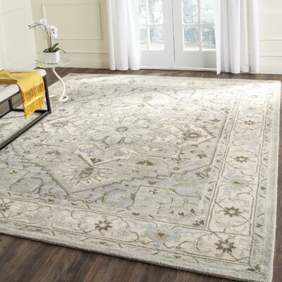 Meriden Beige/Grey Oriental Area Rug Rug Size: Rectangle 6 x 6