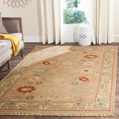 Linwood Hand-Woven Wool Beige/Sage Area Rug Rug Size: Rectangle 8 x 10