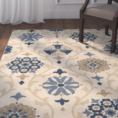 Dubuque Ivory/Blue Indoor/Outdoor Area Rug Rug Size: 52 x 76
