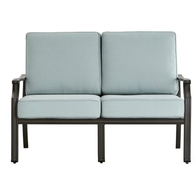 Brunelle Loveseat with Cushions Color: Blue