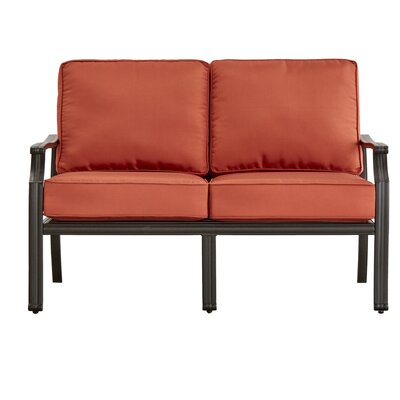 Brunelle Loveseat with Cushions Fabric: Red