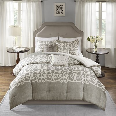 Darby Home Co Newburg 7 Piece Comforter Set Size: King, Color: Gray