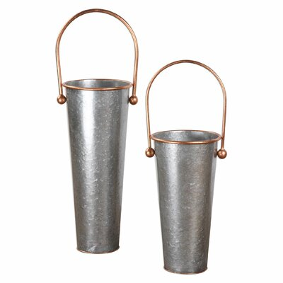 2 Piece Decorative Galvanized Flower Buckets Set