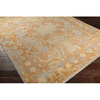 Hanrahan Hand-Knotted Orange Area Rug Rug Size: 6 x 9