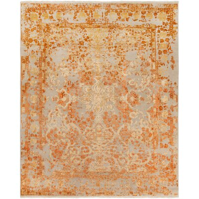 Hanrahan Hand-Knotted Orange Area Rug Rug Size: Rectangle 9 x 13