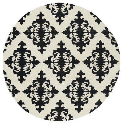 Slovan Hand-Tufted Black / Ivory Area Rug Rug Size: Round 119