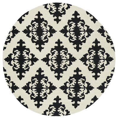 Slovan Hand-Tufted Black / Ivory Area Rug Rug Size: Round 59