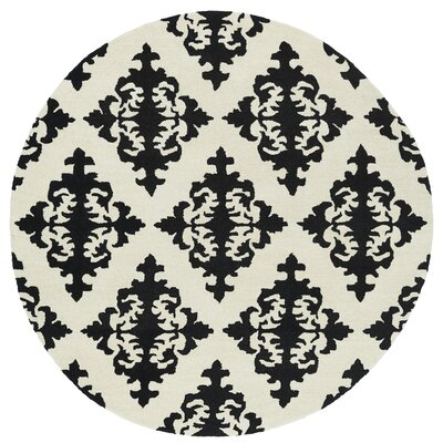 Slovan Hand-Tufted Black / Ivory Area Rug Rug Size: Round 79