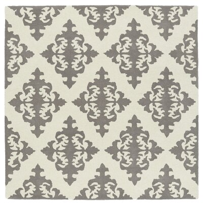 Slovan Hand-Tufted Gray/Ivory Area Rug Rug Size: Square 119