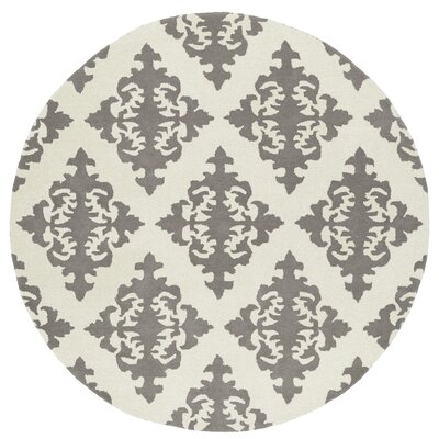 Slovan Hand-Tufted Gray/Ivory Area Rug Rug Size: Round 39