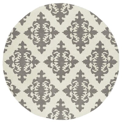 Slovan Hand-Tufted Gray/Ivory Area Rug Rug Size: Round 59
