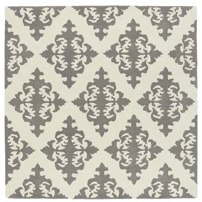 Slovan Hand-Tufted Gray/Ivory Area Rug Rug Size: Square 59