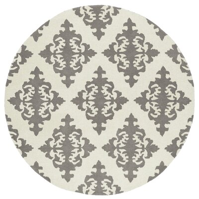 Slovan Hand-Tufted Gray/Ivory Area Rug Rug Size: Round 79