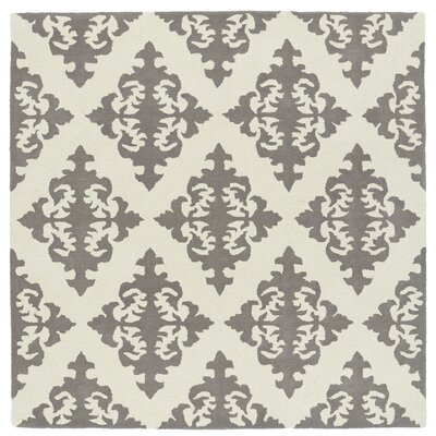 Slovan Hand-Tufted Gray/Ivory Area Rug Rug Size: Square 79
