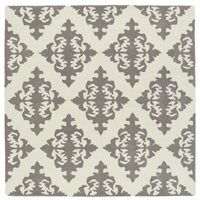 Slovan Hand-Tufted Gray/Ivory Area Rug Rug Size: Square 99