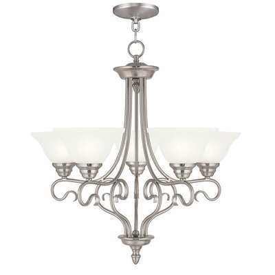 Lewisboro 5-Light Shaded Chandelier Finish: Brushed Nickel