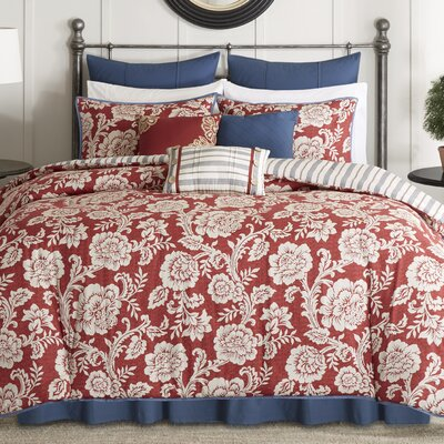 Cheshire 9 Piece Reversible Comforter Set Size: King, Color: Red