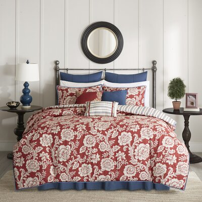 Cheshire Cotton 9 Piece Reversible Comforter Set Size: King, Color: Red