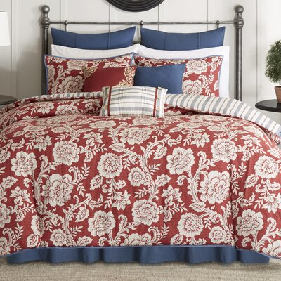 Cheshire 9 Piece Reversible Duvet Cover Set Size: King, Color: Red