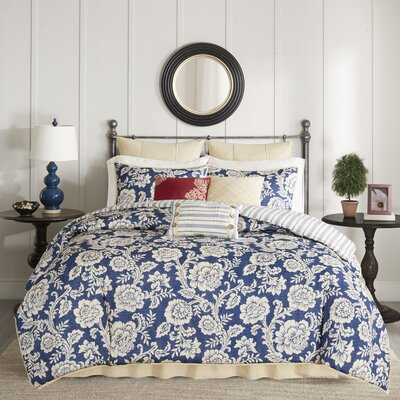 Cheshire Cotton 9 Piece Reversible Comforter Set Size: King, Color: Navy