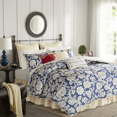 Cheshire Cotton 9 Piece Reversible Duvet Set Size: King, Color: Navy