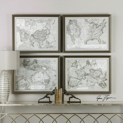 World Maps 4 Piece Framed Graphic Art Set