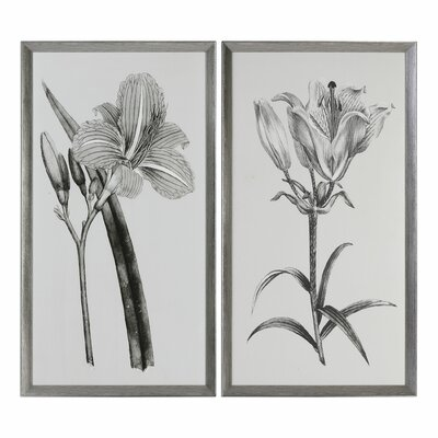 Flowers 2 Piece Framed Graphic Art Set