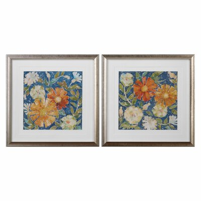 April Flowers 2 Piece Framed Painting Print Set