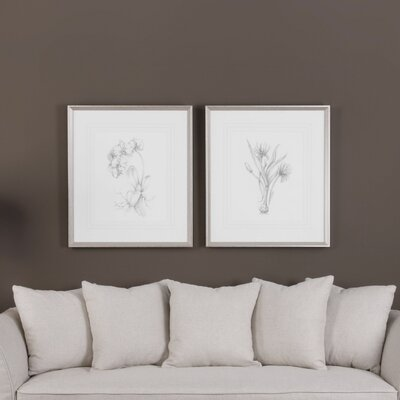 Botanical Sketches 2 Piece Framed Painting Print Set