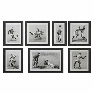 Vintage Football Techniques 7 Piece Framed Painting Print Set