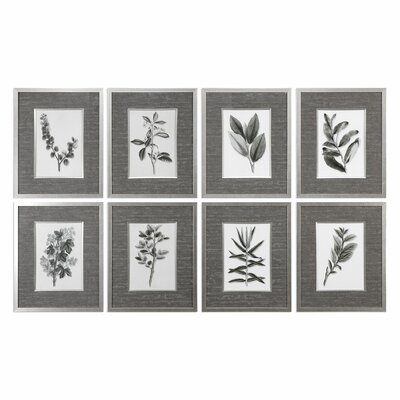 Leaves 8 Piece Framed Graphic Art Set