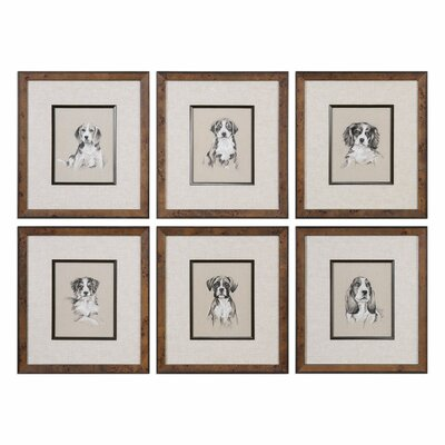 Small Breed Sketch 6 Piece Framed Graphic Art Set