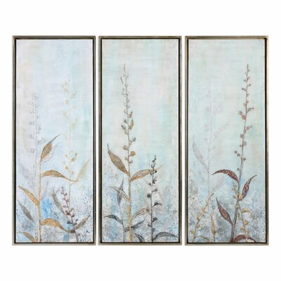 Shining Florals 3 Piece Framed Painting Set