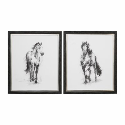Dynamic Equestrian 2 Piece Framed Painting Print Set