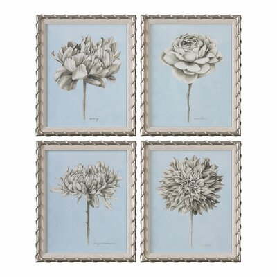 Graphite Botanical Study Floral 4 Piece Framed Painting Print Set